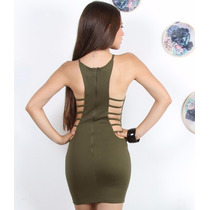 Sexy Mini Vestido Verde Militar Con Tiras En La Cintura
