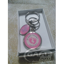 5 Llaveros Personalizados Baby Shower,souvenirs,doble Medall