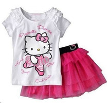 Conjunto Vestido Bebê Infantil Hello Kitty Blusa Saia Tutu