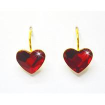 Aretes Pegados Corazón Rojo Baño Oro 24k Swarovski Elements