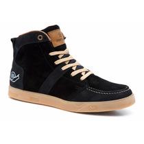 Tênis Skate Land Feet Preto/ Caramelo Cano Alto - Tipo Supra