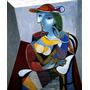 Mulher Sentada Com Lindo Chapéu Grande Picasso Tela Repro