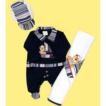 Saída De Maternidade Urso Marinheiro Azul / Bebê Menino.