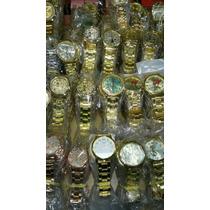 Kit Relógio Feminino Dourado+caixa Atacado Lote C/10 Barato