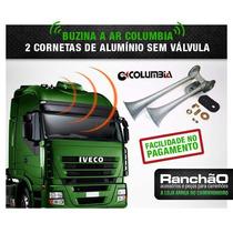 Buzina Ar Caminhão 2 Cornetas Columbia Metal 12x + Frete