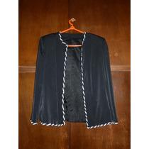 Conjunto Tres Piezas Saco-falda De Terciopelo-blusa De Gasa
