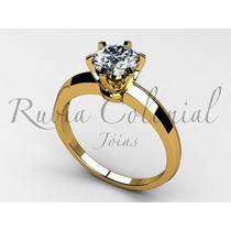 Anel Solitário 50 Pontos. Ouro 18k Diamante Brilhante Luxo.