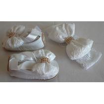 Sapatilha Branca Laço Renda Double Baby + Faixa