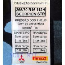 Adesivo De Pressão Pneu Aro 16 Pirelli Asx Triton L200 -r3
