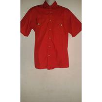 Camisa Tipo Columbia Roja Caballero Manga Corta