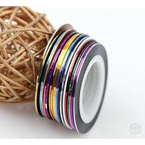 10 Rolos De Fitas Adesivas Metalizadas Decoradoras De Unha