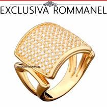 Rommanel Anel Largo Liso Superior Quadra 99 Zirconias 511592