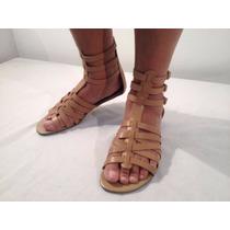 Sandália Mini Gladiadora Nude Nova, Em Couro Natural
