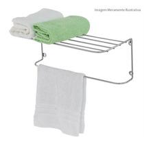 Porta Toalha Prateleira Cromada Para Parede Banheiro Armario