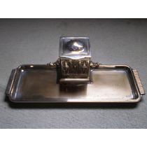Muy Antiguo Tintero Con Baño De Plata Gastado En Partes 1900