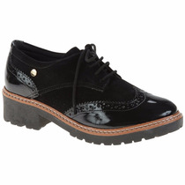 Sapato Oxford Quiz 45-54804 Feminino Camurça E Verniz