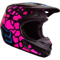 Casco Fox V1 Grav Rosa Mujer 2017 Motocross Atv Moto Talla M