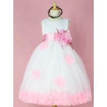 Vestido De Fiesta Infantil Rosado Con Detalle De Flores.