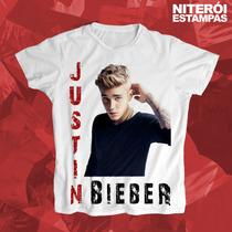 Camisa Baby Look Justin Bieber Feminina (poliéster)