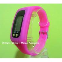 Relógio Digital Pedômetro Distancia Gasto Calorico Rosa Pink