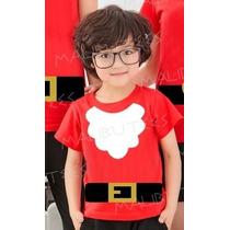Fantasia Papai Noel Natal Ano Novo Camiseta Infantil