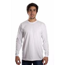 Camiseta Manga Longa Branca Básica Lisa Camisa Blusa Algodão