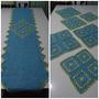 Jogo Trilho Mesa Crochê 7 Peças Azul
