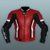 Campera Proskin Moto Pista Cuero Con Joroba Protecciones