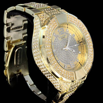 Relógio Hip Hop Dourado 2 Luxo Com Brilhantes Invict Nautic