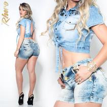 Short Jeans Feminino Da Rhero Levanta Bumbum Estilo Pitbull
