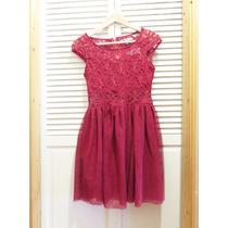Vestido De Fiesta Corto Color Rojo Con Encajes