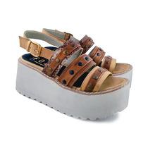 Envio Gratis Sandalia Cuero Zapato Plataforma Verano 2017
