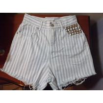 Short Branco Listrado Jeans Customizado Com Tachinhas
