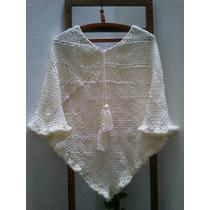 Poncho Tejido Telar Y Crochet Lana Merino