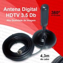 Antena Digital Hdtv 3.5db Uhf 360º Full Hd Interior Exterior