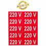 Cartela 10 Etiquetas 220v Adesiva Para Tomadas Adaptadores