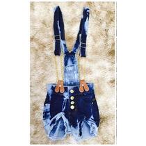 Jardineira/macacão Infantil Jeans Feminina Com Corrente
