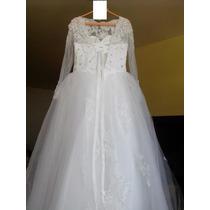Vestido De Noiva Mangas Compridas - 42/44 Queima De Estoque