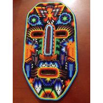 Mascara Forrada Con Chaquira, Artesania Huichol