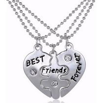 Colar Triplo Coração Quebra Cabeça Melhores Amigos Best