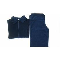 Conjunto De Moleton Em Plush Azul Marinho Feminino Tam P