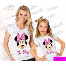 Tal Mãe Tal Filha Baby Look Kit 2 Uni Camiseta Minnie Mickey