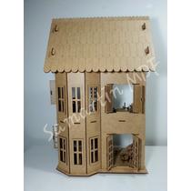 Casa Casinha De Boneca Mdf + Kit De 27 Móveis P/ Montar