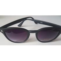 Óculos Sol Preto Modelo Lente Preta Degrade + Saquinho Fem