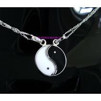 Yin Yang Dividido Con Dos Cadenas En Plata Ley 0.925