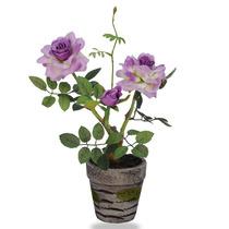Roseira Artificial Com Vaso 26 Cm Rosas Artificiais