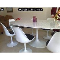 Mesa De 1.80 X 1.00 Tampo Em Carrara + 6 Cadeiras S/braço