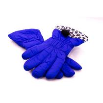 Luva Azul Royal Oncinha Inverno Frio Feminina Luxo