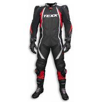Macacao Couro Moto Texx Cronos 1 Peca Vermelho