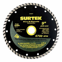 Discos De Diamante Turbo 9pulg 15200rpm Surtek 123467 Vv4